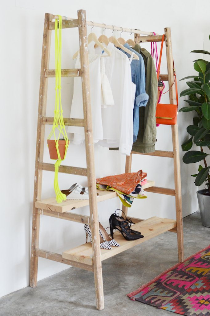 MAKE: DIY Ladder Wardrobe - by A Pair and A Spare  (aka major blog crush)