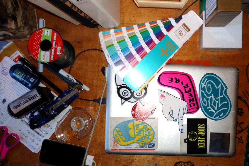 Desk of a sock designer