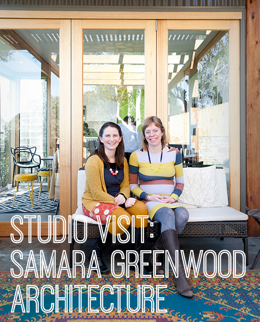 Samara Greenwood and Anna Castles of Samara Greenwood Architecture outside their Ivanhoe studio. Image credit Martina Gemmola